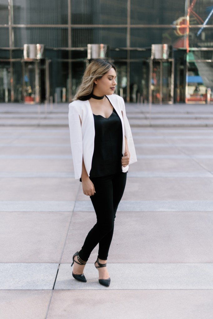 Cape jacket, chic black and white business outfit