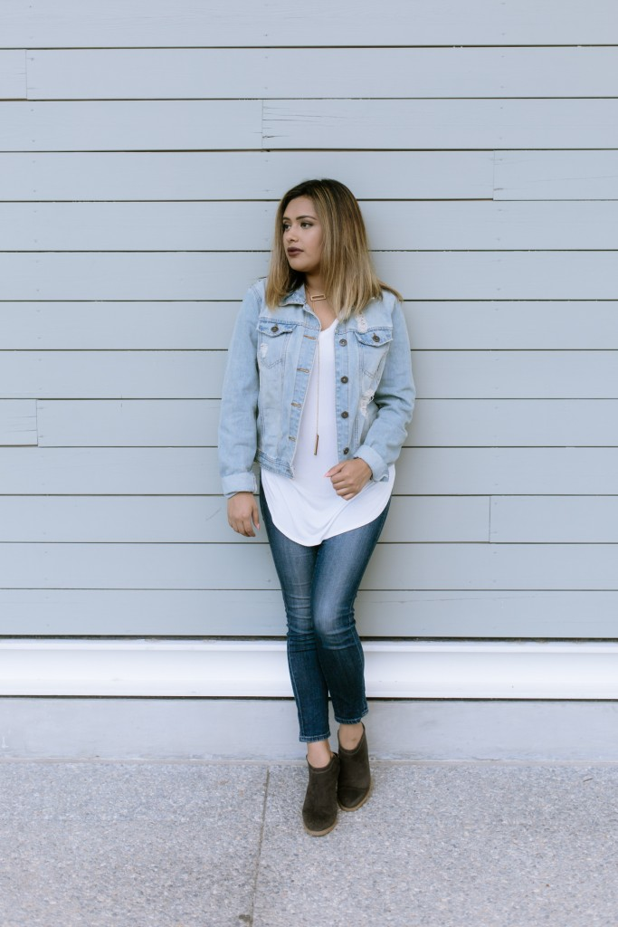 basic white tee with denim jacket