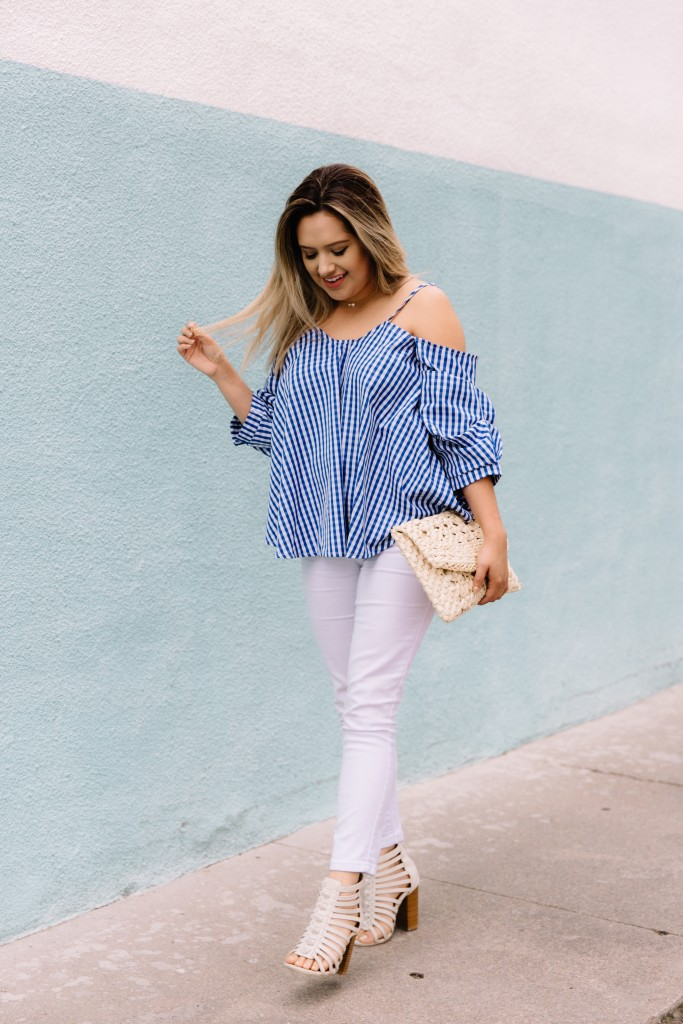 Gingham Open Shoulder Top