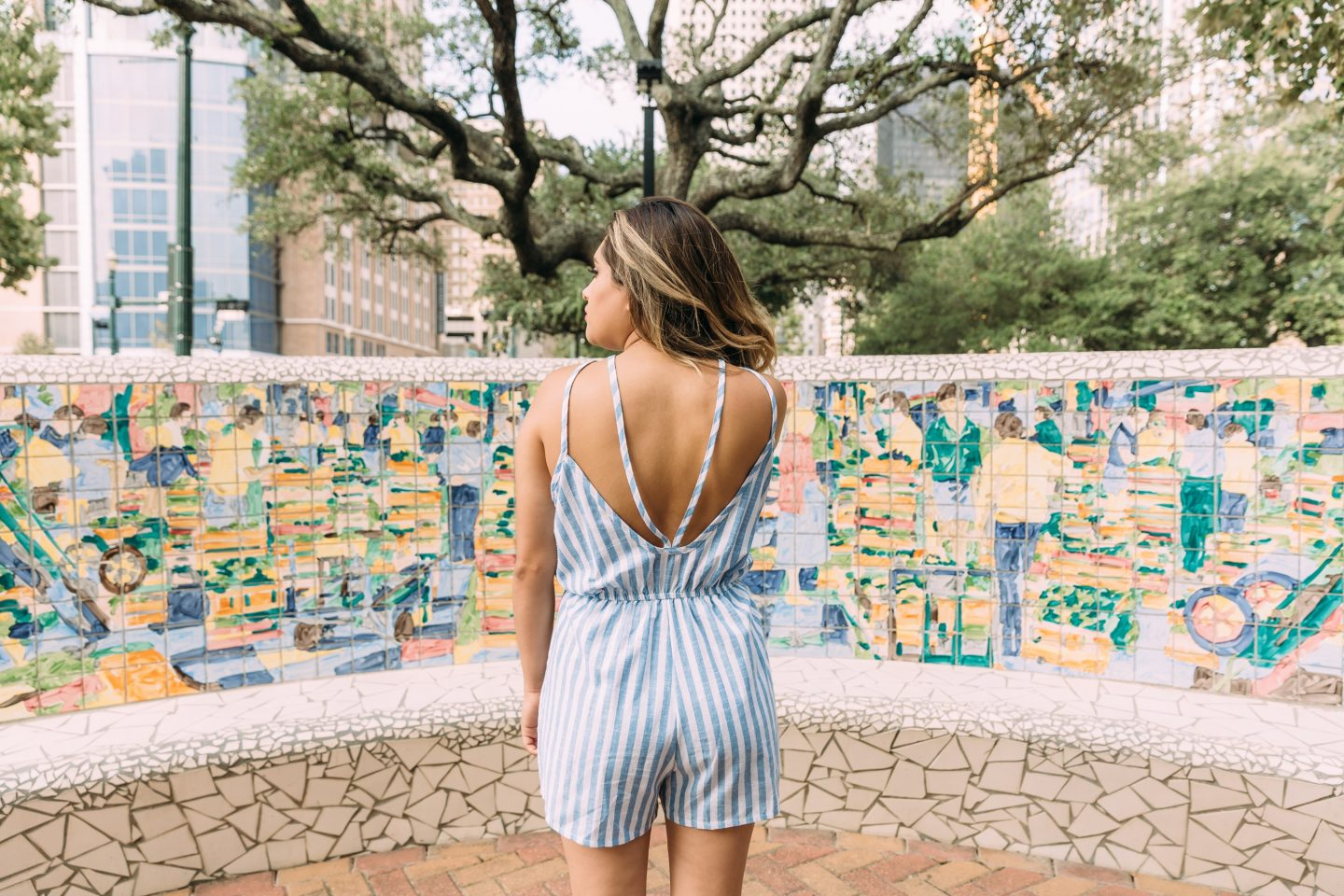White and Blue Romper